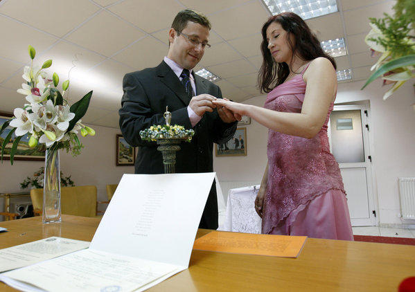 A national survey found that interfaith couples are much more likely to have used a civil official instead of a religious leader. Above: Lebanon and Israel recognize civil marriages as long as they're performed abroad, and the closest venue is Cyprus where this interfaith couple were married.