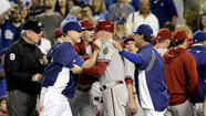 PITTSBURGH — The Dodgers reacted with bemusement and amusement Friday after Major League Baseball issued eight suspensions to Dodgers and Arizona Diamondbacks personnel for their roles in a violent brawl during the teams' game Tuesday night at Dodger Stadium.