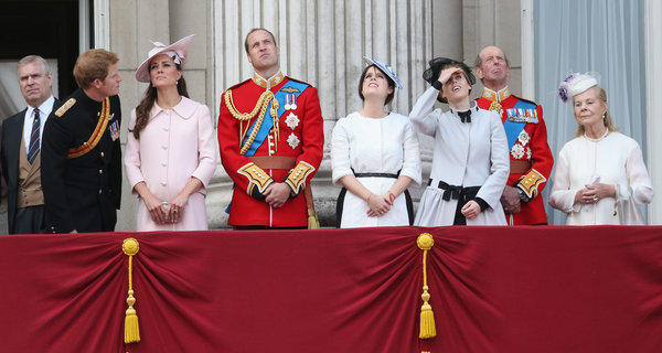 From left, Prince Andrew; Prince Harry; Catherine, Duchess of Cambridge; Prince William, Duke of Cambridge; Princess Eugenie; Princes Beatrice; Prince Edward; and Katherine, Duchess of Kent on the balcony at Buckingham Palace during the annual Trooping the Colour ceremony on Saturday.