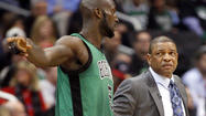 The Clippers and Celtics had more discussions Saturday about a deal involving Boston Coach Doc Rivers and power forward Kevin Garnett both coming to Los Angeles, but the Clippers feel as if the current asking price is too high, said NBA executives who asked not to be identified because they were not authorized to speak publicly on the matter.
