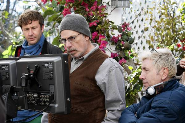 "Chris O'Dowd, left, Christopher Guest and Jim Piddock work on ""Family Tree."""