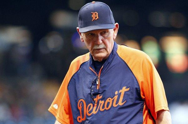 Tigers Manager Jim Leyland returns to the dugout after a pitching change last month.