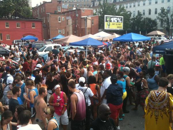 The tailgating party in the parking lot behind Eddie's in Mount Vernon during Baltimore Pride on Saturday was packed.