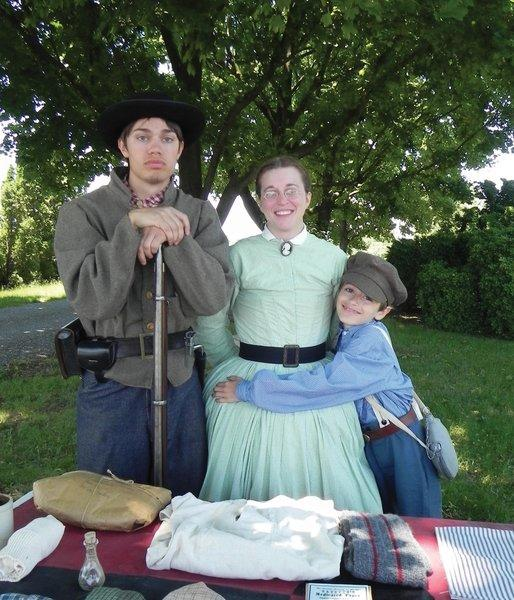 Marshall Miller, 16; his mother, Alicia; and his brother, Dalton, 9, shared their knowledge of Civil War life Saturday when the Allison-Antrim Museum in Greencastle, Pa., commemorated the 150th anniversary of the Civil War.