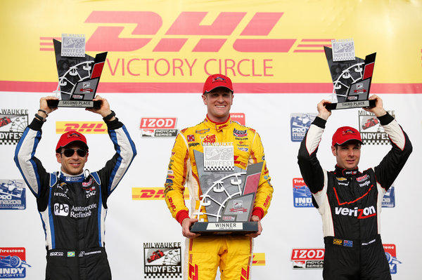 Ryan Hunter-Reay celebrates with Helio Castroneves and Will Power.