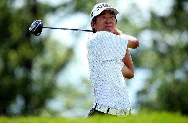Michael Kim watches his tee shot at No. 4 on Saturday during the third round of the U.S. Open at Merion Golf Club.