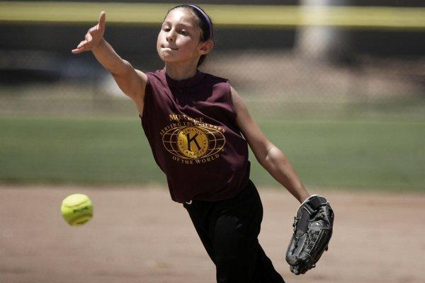 Kiwanis' Natalie Bicetti pitches during a game against Aristo at Scholl Canyon Ball Fields in Glendale on Saturday. (Cheryl A. Guerrero/Staff photographer)