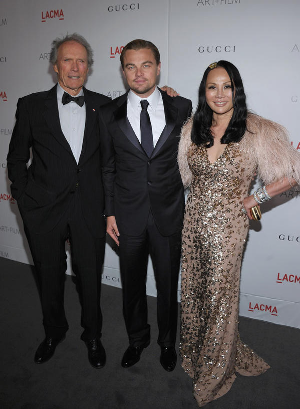 Trustee and co-chair Eva Chow and actor and co-chair Leonardo DiCaprio at the 2011 LACMA Art   Film Gala, with honoree Clint Eastwood.