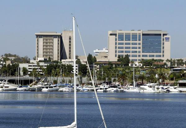 The Hoag Memorial Hospital Presbyterian compex in Newport Beach, shown from the Via Lido bridge.