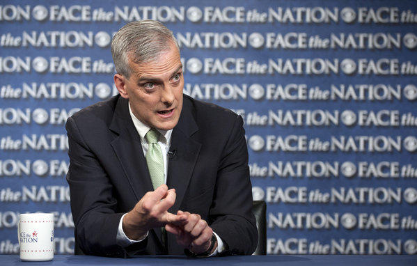 "White House Chief of Staff Denis McDonough speaking on CBS's ""Face the Nation"" in Washington."
