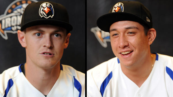 Pitcher Sebastian Vader (left) and catcher Scott Kalush bring experience to this year's Aberdeen IronBirds, the Orioles' short-season Single-A affiliate.