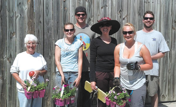 Volunteers from Elizabethtown East Neighborhoods 1st took time out of their day recently to help plant 250 plants in 37 tree pits along East Baltimore, East Antietam and Mulberry streets in Hagerstown. From left, Garnetta Harne, Holly Janni, Justin Mark, Stacey Campbell, Vanessa Garcia and Nate Janni.