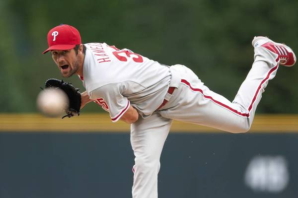 Cole Hamels of the Philadelphia Phillies pitched well, but still lost his 10th game of the season.