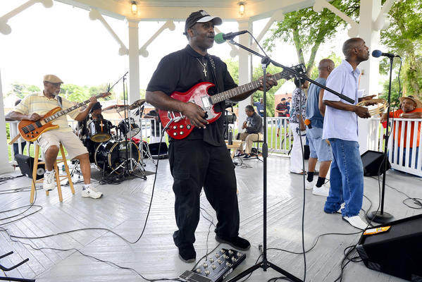 The local band OTB performed Sunday afternoon at Wheaton Park for the kickoff of the Ruth Ann V. Monroe Summer Basketball League.