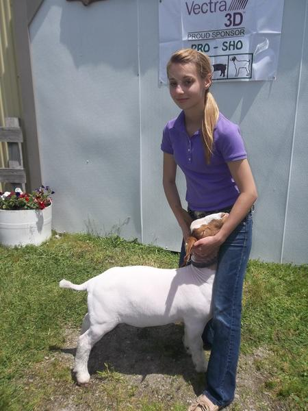 Renee Svonavec of Somerset won overall reserve champion goat during the Somerset County PROspective Sho at theSomerset County Fairgrounds in Meyersdale on Saturday. Jake Ritenour (not pictured) of Acme won overall champion goat.