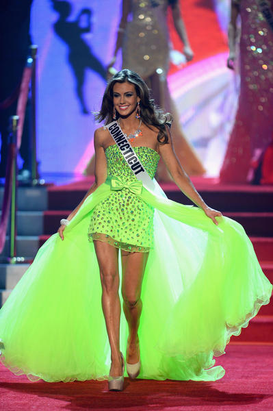 Miss Connecticut Erin Brady walks onstage during the 2013 Miss USA pageant at Planet Hollywood Resort & Casino.