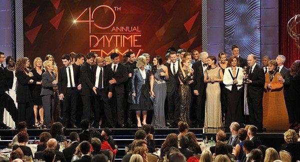 """The cast and crew of """"Days of Our Lives"""" accept the award for outstanding drama series at the 40th Daytime Emmy Awards."""