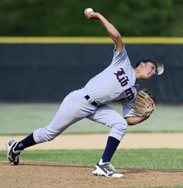 Liberty's Matt Leon pitches in the District 11 4A tournament against Parkland at Parkland High School on May 22.