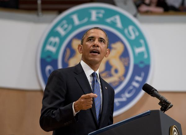 President Obama gestures during a speech at Belfast Waterfront Hall in Northern Ireland.