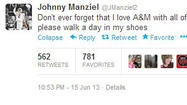 Johnny Manziel makes news on Twitter... again