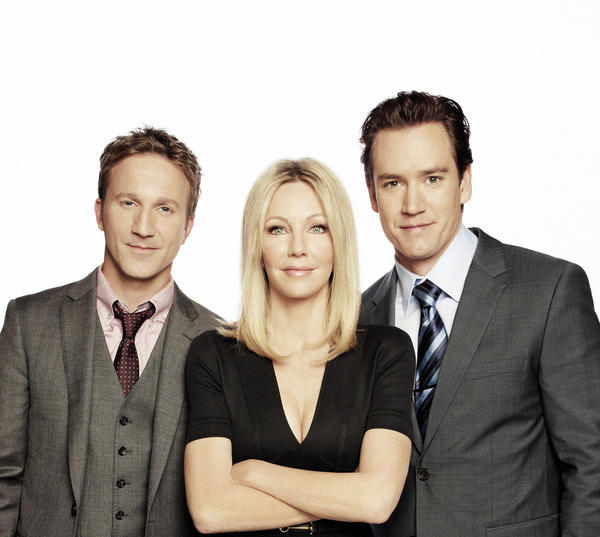 "Breckin Meyer (left), Heather Locklear and Mark-Paul Gosselaar star in ""Franklin & Bash."""