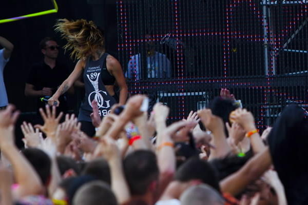 Krewella performs at Spring Awakening at Soldier Field in Chicago