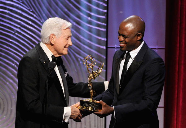 TV personality Wayne Brady presents Monty Hall with the Lifetime Achievement Award during the Daytime Emmy Awards at the Beverly Hilton Hotel in Beverly Hills.