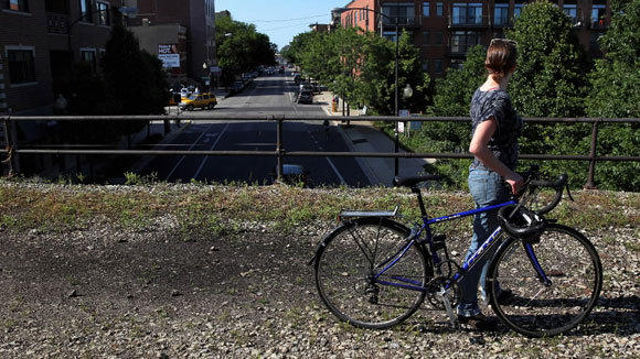 A bike route is proposed for the elevated Bloomingdale Trail that runs through Chicago's Bucktown neighborhood.