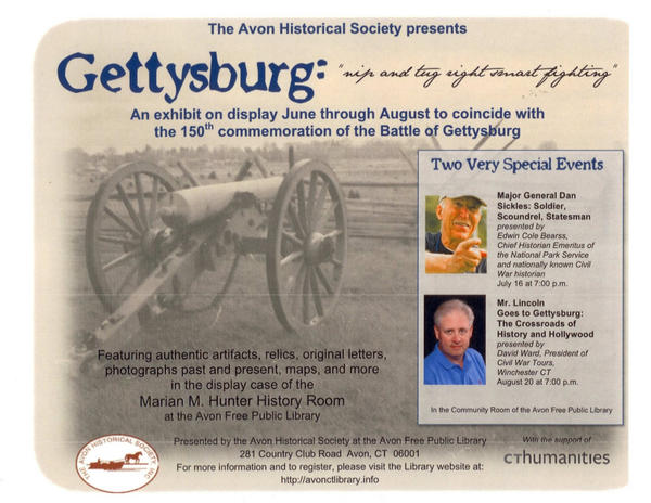 Promotional material put out by the Avon Historical Society on its upcoming programs commemorating the 150th anniversary of the Battle of Gettysburg.