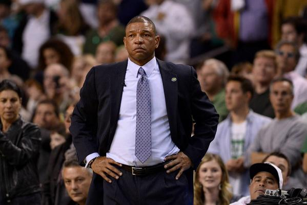 Doc Rivers coaches the Boston Celtics in a game against the New York Knicks