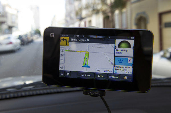 The Mitac International Corp. Magellan SmartGPS helps a driver navigate in San Francisco.