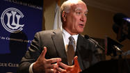 Democratic candidate for governor Bill Daley excoriated Gov. Pat Quinn for a lack of leadership over the state's pension crisis and criticized potential rival Lisa Madigan for not providing a legal opinion on the constitutionality of possible solutions.