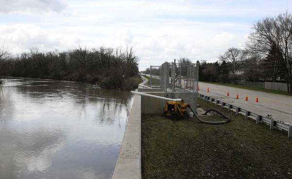 Des Plaines River near a pump station on levee 37, a levee that runs 2 miles down along the Des Plaines River, near River Road and Seminole, in Mount Prospect on April 25.