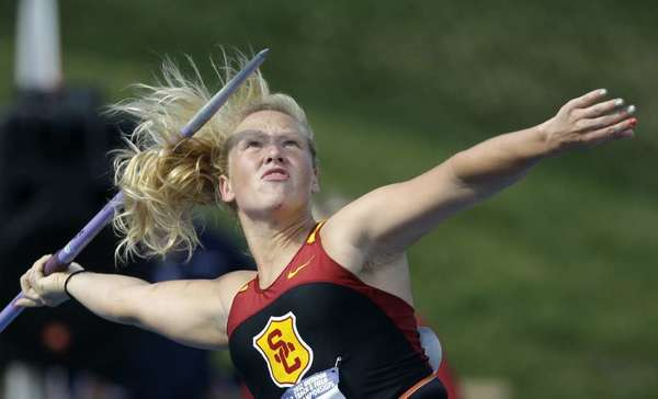 USC's Kristine Busa competes in the javelin at the NCAA track and field championships earlier this month.
