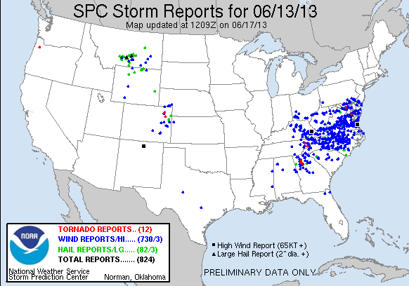 Tornado, hail and severe wind reports were scattered across the mid-Atlantic and Southeast on Friday.