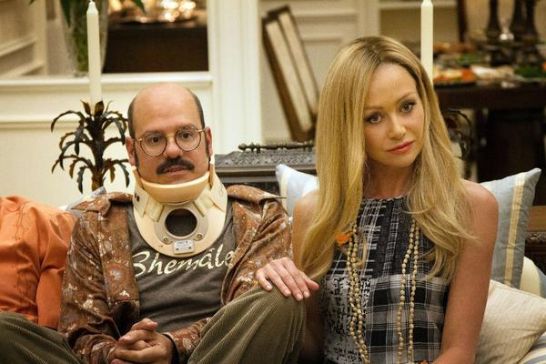 "David Cross and Portia de Rossi as Tobias and Lindsay in a scene from the Netflix-streaming fourth season of ""Arrested Development."" In a recently posted Youtube video, Cross said the ""Shemale"" T-shirt worn by his character here was one of his favorite wardrobe pieces."