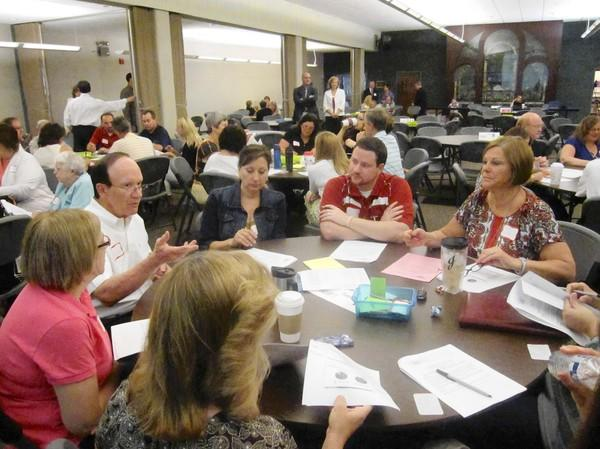 Naperville Unit District 203 community members discuss priorities and finances during a Future Focus session.