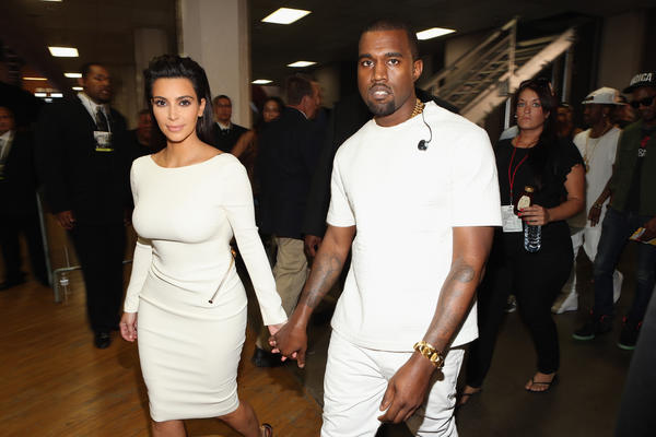 Kanye West, with Kim Kardashian, at the 2012 BET Awards at the Shrine Auditorium in Los Angeles.