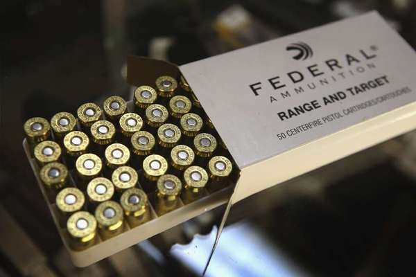A bill in California would require buyers of bullets to get a license and undergo a background check. Above: a box of .45 caliber ammunition.