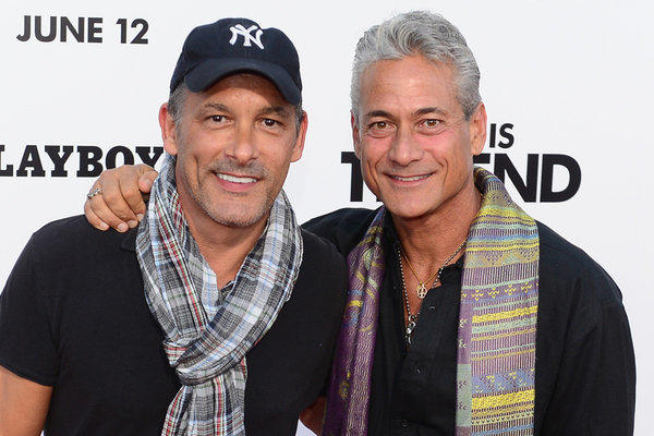 "Johnny Chaillot, left, and ormer Olympic Gold medallist diver Greg Louganis, shown at the June 3 premiere of ""This Is The End"" in Los Angeles, are engaged."