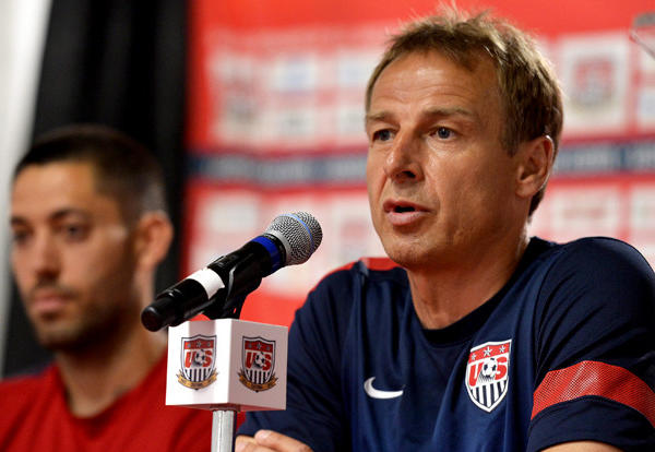U.S. Coach Juergen Klinsmann, right, speaks during a press conference earlier this month.