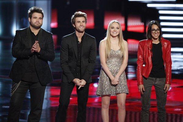"From left: Zach and Colton Swon of the Swon Brothers, Danielle Bradbery, and Michelle Chamuel on ""The Voice."""