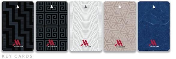 Key cards with a redesigned logo are part of the Travel Brilliantly campaign from Marriott Hotels.