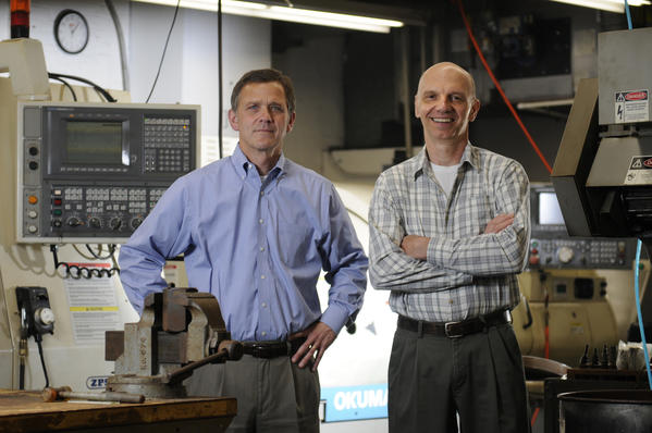 William Plourd, left, and William Kauffman, co-owner of Triatic, a diamond tool manufacturer in West Hartford.