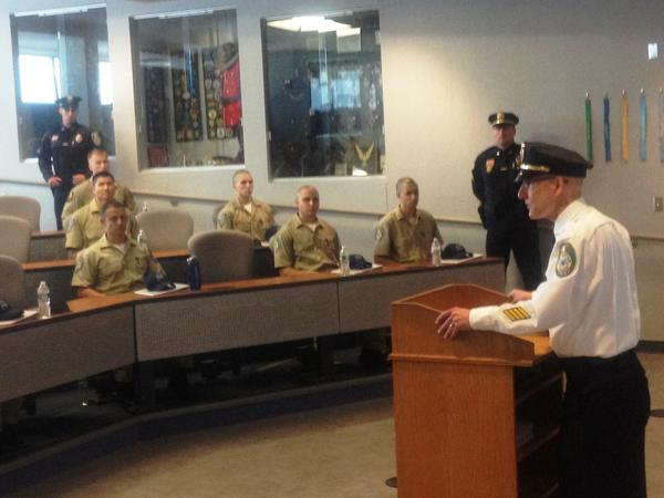 New Britain Police Chief James Wardwell speaks to the newest class of police recruits at the city's police academy.