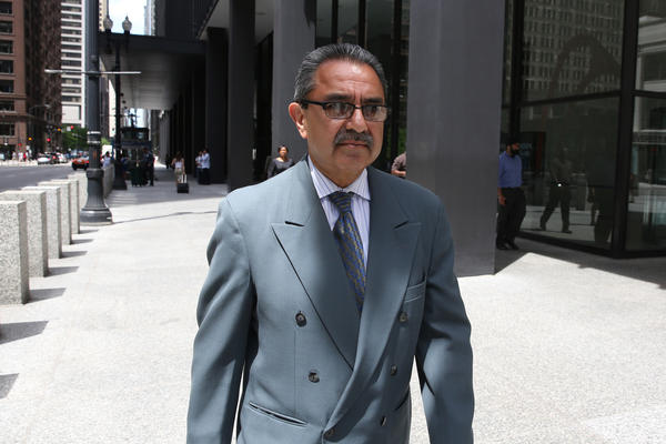 Former alderman Ambrosio Medrano leaves the Dirksen U.S. Courthouse in Chicago after being found guilty on three counts of bribery and conspiracy.