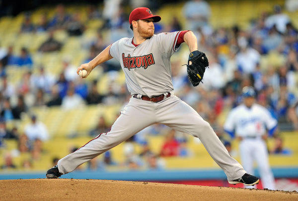 Arizona Diamondbacks starting pitcher Ian Kennedy (31) pitches during the first inning against the Los Angeles Dodgers at Dodger Stadium.