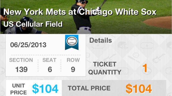 A screen grab of the confirmation page of the Ticket Scalpr app.