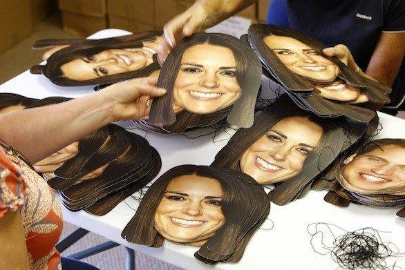 Mask-arade in Southam, England, has been printing thousands of masks of Kate and William for the street parties that will follow the announcement of the royal birth in July.