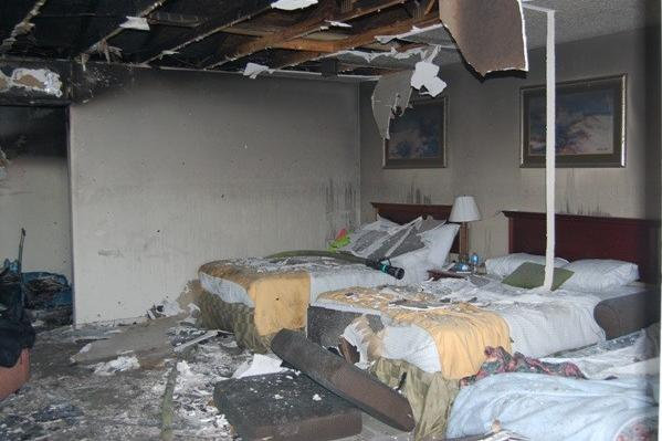A fire damaged a hotel room at The Bedtime Inn & Suites in West Ocean City.